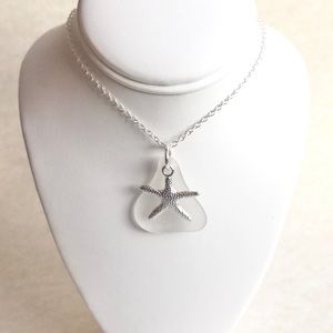 Starfish And Genuine Sea Glass Pendant Necklace